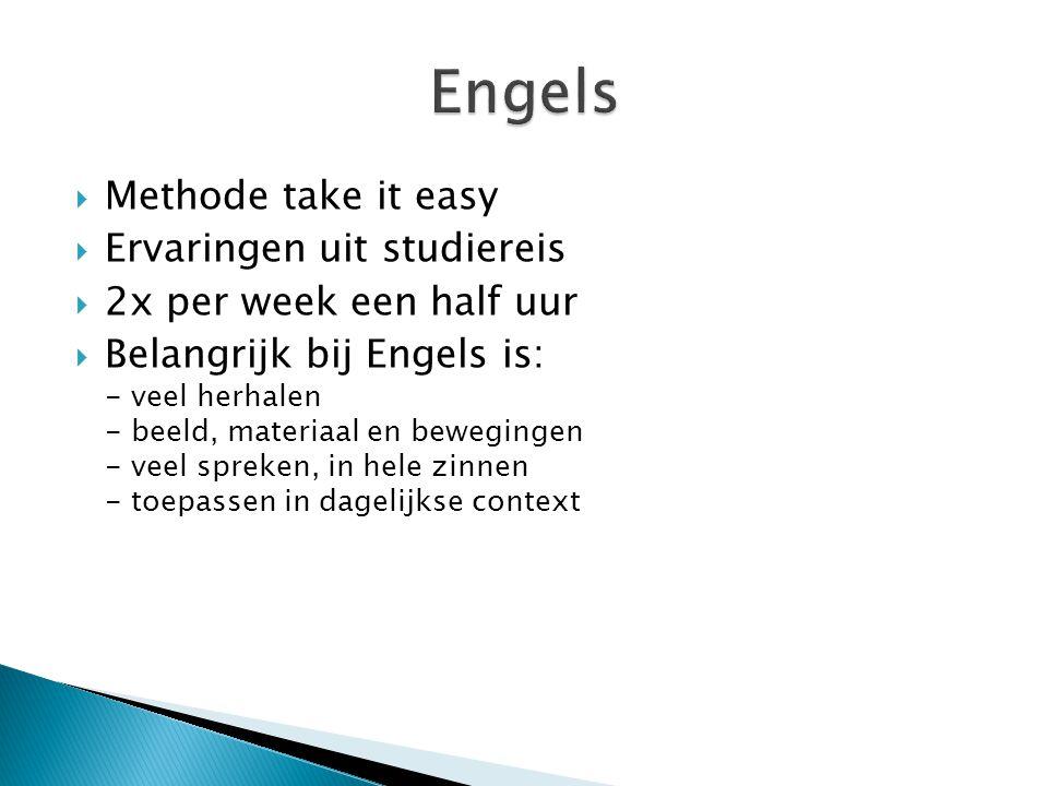  Methode take it easy  Ervaringen uit studiereis  2x per week een half uur  Belangrijk bij Engels is: - veel herhalen - beeld, materiaal en bewegingen - veel spreken, in hele zinnen - toepassen in dagelijkse context