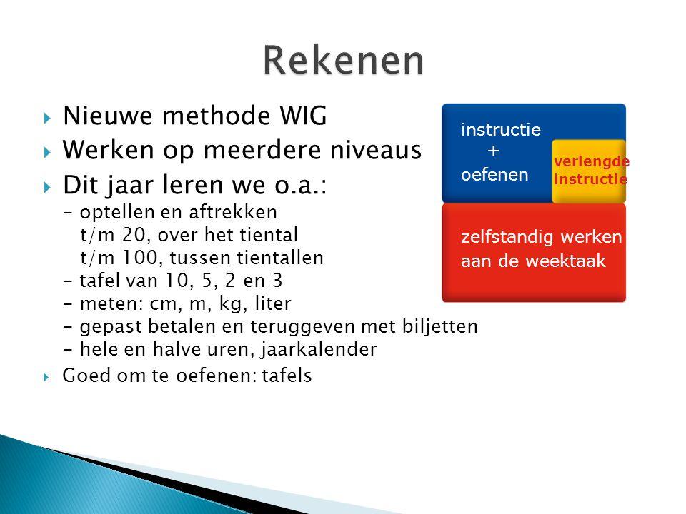  Nieuwe methode WIG  Werken op meerdere niveaus  Dit jaar leren we o.a.: - optellen en aftrekken t/m 20, over het tiental t/m 100, tussen tientallen - tafel van 10, 5, 2 en 3 - meten: cm, m, kg, liter - gepast betalen en teruggeven met biljetten - hele en halve uren, jaarkalender  Goed om te oefenen: tafels instructie + oefenen verlengde instructie zelfstandig werken aan de weektaak