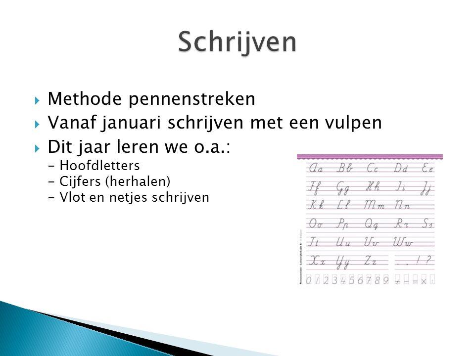  Methode pennenstreken  Vanaf januari schrijven met een vulpen  Dit jaar leren we o.a.: - Hoofdletters - Cijfers (herhalen) - Vlot en netjes schrijven