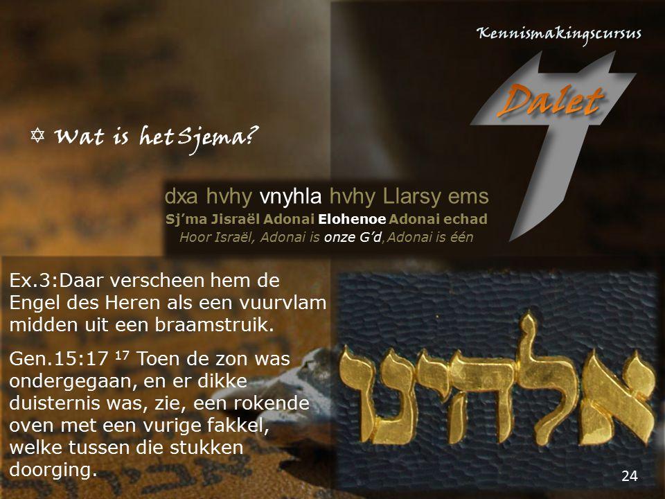  Wat is het Sjema? dxa hvhy vnyhla hvhy Llarsy ems Sj'ma Jisraël Adonai Elohenoe Adonai echad Hoor Israël, Adonai is onze G'd, Adonai is één Ex.3:Daa