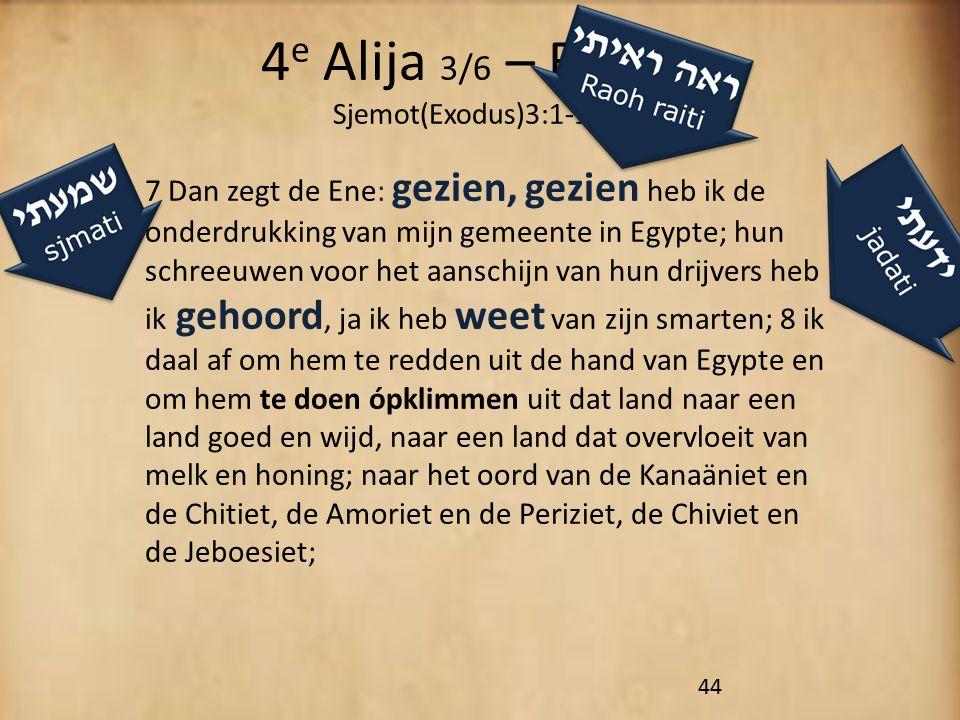 4 e Alija 3/6 – Revi'i Sjemot(Exodus)3:1-15 7 Dan zegt de Ene: gezien, gezien heb ik de onderdrukking van mijn gemeente in Egypte; hun schreeuwen voor