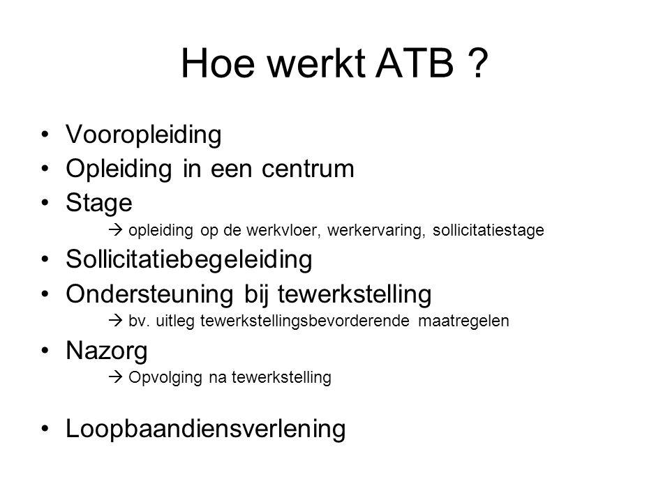 Hoe werkt ATB ? Vooropleiding Opleiding in een centrum Stage  opleiding op de werkvloer, werkervaring, sollicitatiestage Sollicitatiebegeleiding Onde
