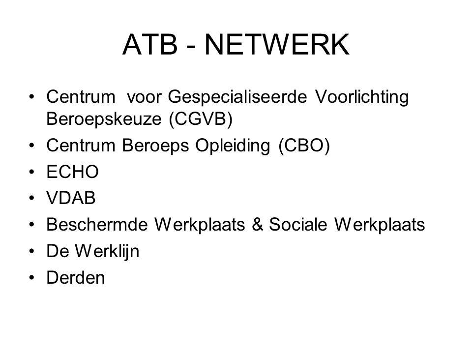 ATB - NETWERK Centrum voor Gespecialiseerde Voorlichting Beroepskeuze (CGVB) Centrum Beroeps Opleiding (CBO) ECHO VDAB Beschermde Werkplaats & Sociale