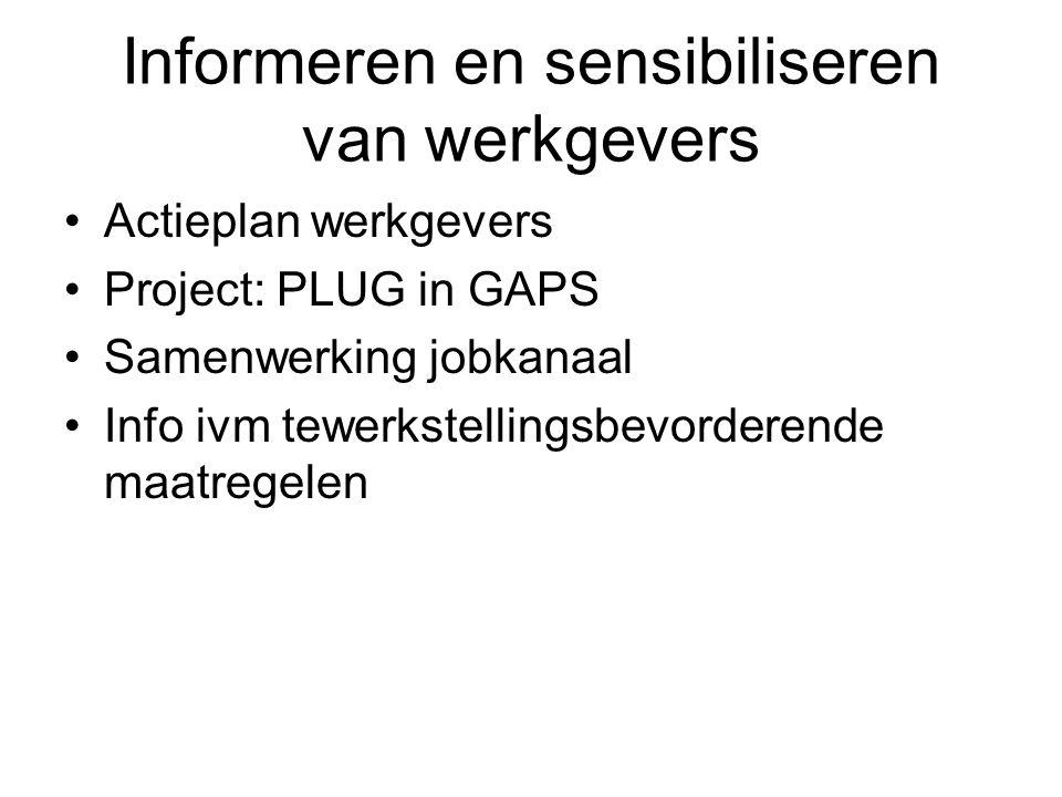 Informeren en sensibiliseren van werkgevers Actieplan werkgevers Project: PLUG in GAPS Samenwerking jobkanaal Info ivm tewerkstellingsbevorderende maa