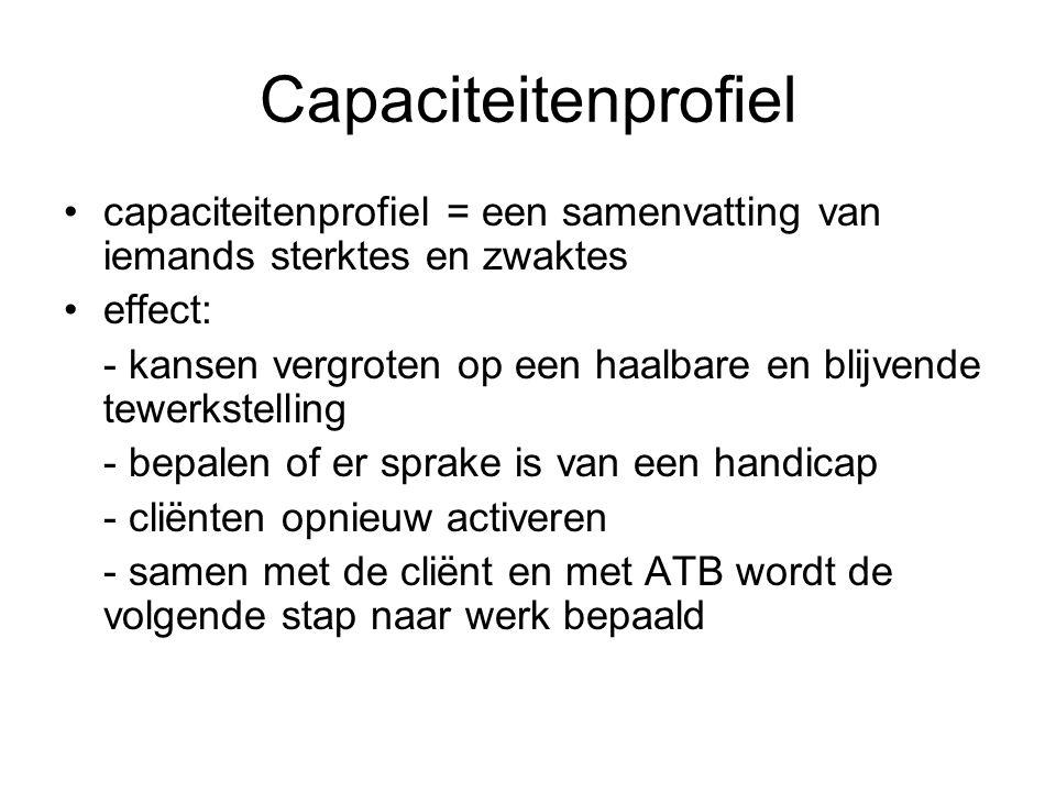 Capaciteitenprofiel capaciteitenprofiel = een samenvatting van iemands sterktes en zwaktes effect: - kansen vergroten op een haalbare en blijvende tew