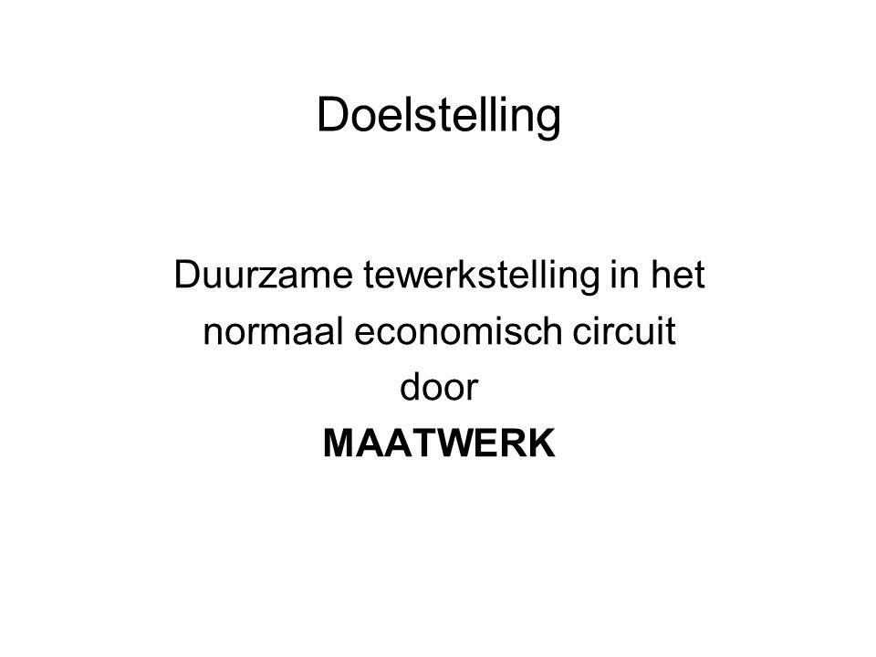 Doelstelling Duurzame tewerkstelling in het normaal economisch circuit door MAATWERK
