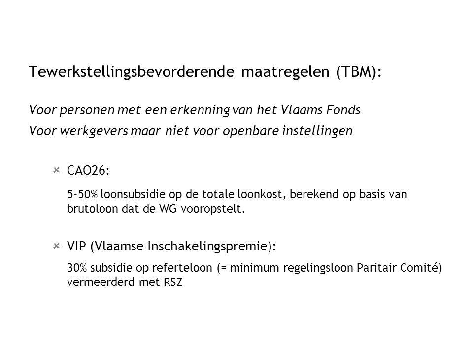 Tewerkstellingsbevorderende maatregelen (TBM): Voor personen met een erkenning van het Vlaams Fonds Voor werkgevers maar niet voor openbare instelling