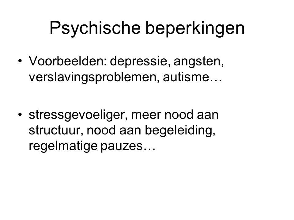 Psychische beperkingen Voorbeelden: depressie, angsten, verslavingsproblemen, autisme… stressgevoeliger, meer nood aan structuur, nood aan begeleiding