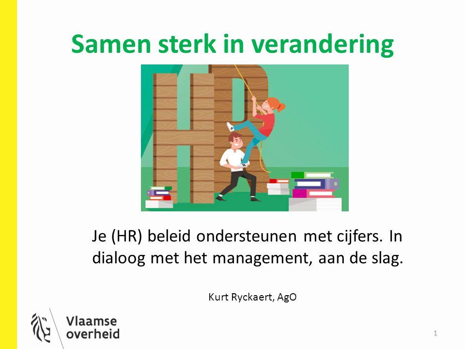 Samen sterk in verandering 1 Je (HR) beleid ondersteunen met cijfers. In dialoog met het management, aan de slag. Kurt Ryckaert, AgO