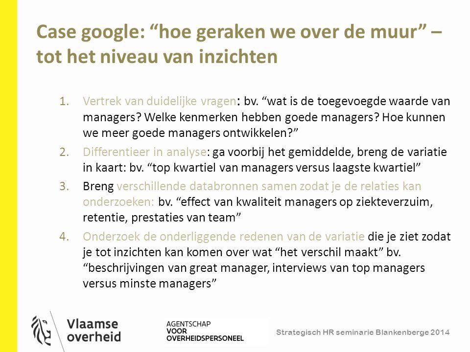 """Strategisch HR seminarie Blankenberge 2014 Case google: """"hoe geraken we over de muur"""" – tot het niveau van inzichten 11 1.Vertrek van duidelijke vrage"""