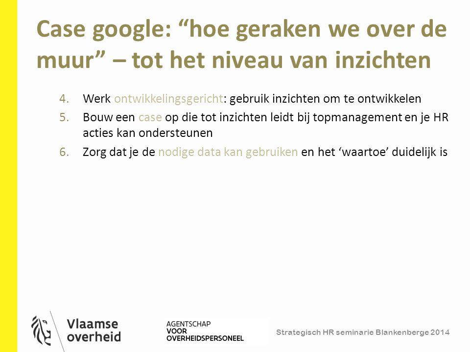 """Strategisch HR seminarie Blankenberge 2014 Case google: """"hoe geraken we over de muur"""" – tot het niveau van inzichten 12 4.Werk ontwikkelingsgericht: g"""
