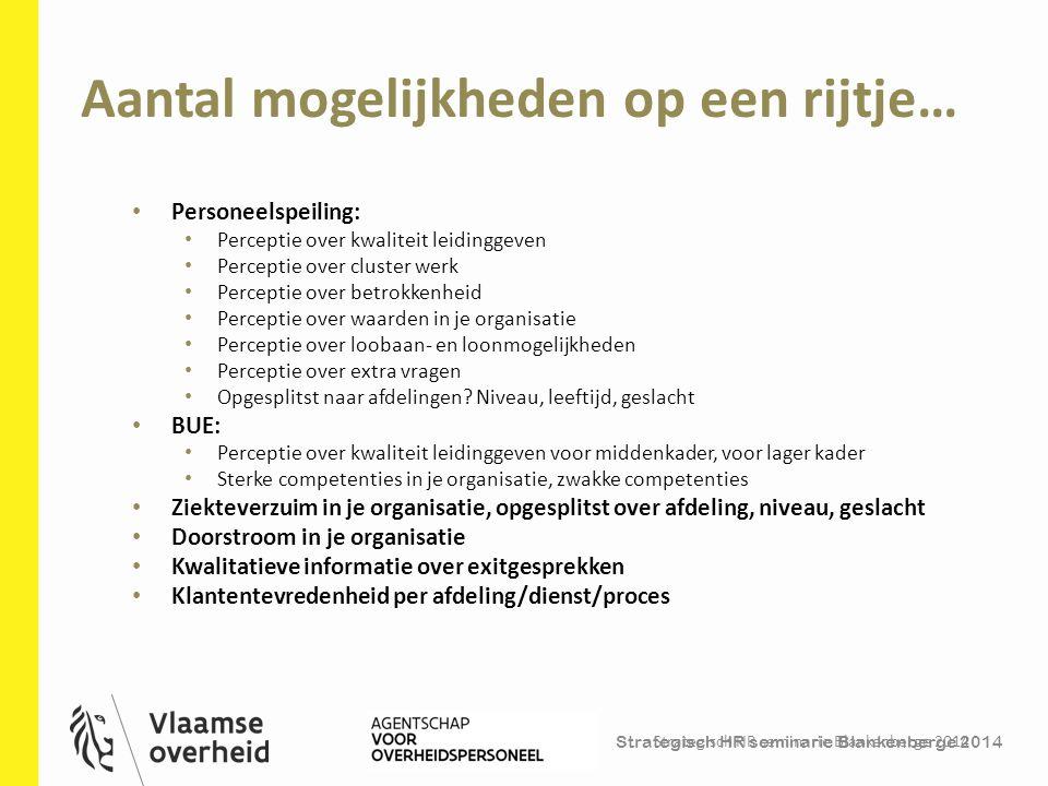 Strategisch HR seminarie Blankenberge 2014 Aantal mogelijkheden op een rijtje… Strategisch HR seminarie Blankenberge 2014 24 Personeelspeiling: Percep