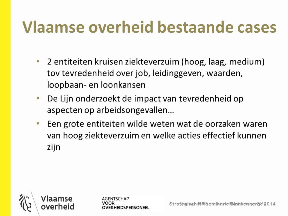 Strategisch HR seminarie Blankenberge 2014 Vlaamse overheid bestaande cases Strategisch HR seminarie Blankenberge 2014 26 2 entiteiten kruisen ziektev