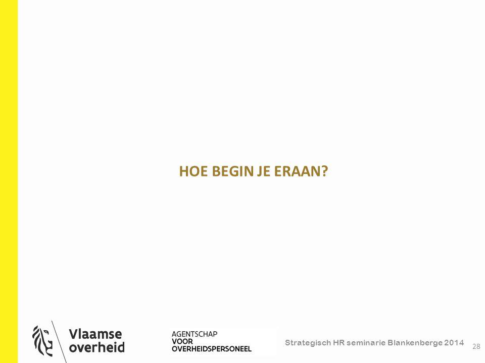 Strategisch HR seminarie Blankenberge 2014 HOE BEGIN JE ERAAN? 28