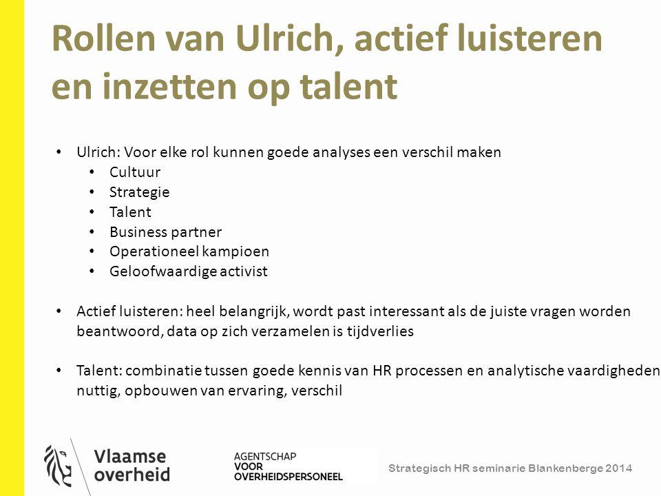 Rollen van Ulrich, actief luisteren en inzetten op talent 3 Ulrich: Voor elke rol kunnen goede analyses een verschil maken Cultuur Strategie Talent Bu