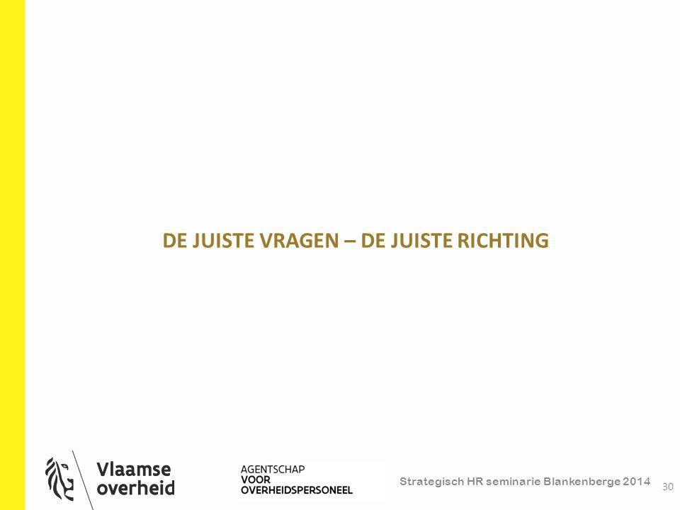Strategisch HR seminarie Blankenberge 2014 DE JUISTE VRAGEN – DE JUISTE RICHTING 30