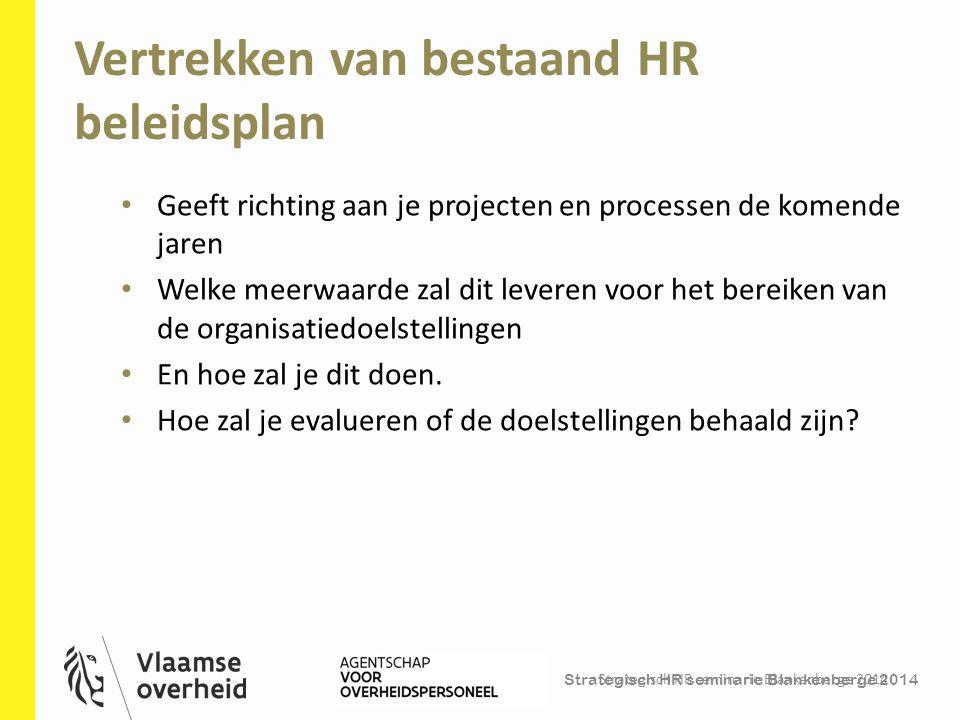 Strategisch HR seminarie Blankenberge 2014 Vertrekken van bestaand HR beleidsplan Strategisch HR seminarie Blankenberge 2014 35 Geeft richting aan je