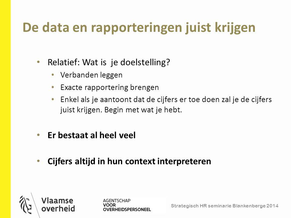 Strategisch HR seminarie Blankenberge 2014 De data en rapporteringen juist krijgen 37 Relatief: Wat is je doelstelling? Verbanden leggen Exacte rappor