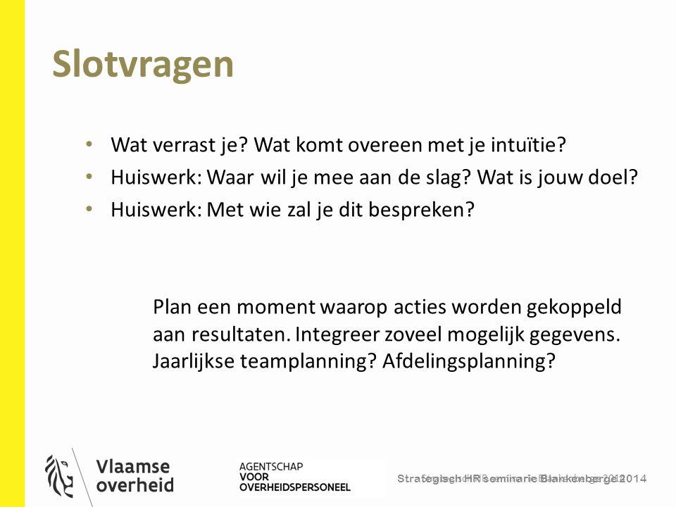 Strategisch HR seminarie Blankenberge 2014 Slotvragen Strategisch HR seminarie Blankenberge 2014 41 Wat verrast je? Wat komt overeen met je intuïtie?