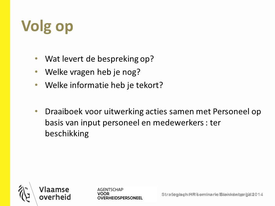 Strategisch HR seminarie Blankenberge 2014 Volg op Strategisch HR seminarie Blankenberge 2014 43 Wat levert de bespreking op? Welke vragen heb je nog?