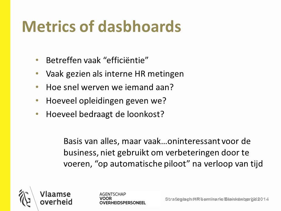 """Metrics of dasbhoards Strategisch HR seminarie Blankenberge 2014 7 Betreffen vaak """"efficiëntie"""" Vaak gezien als interne HR metingen Hoe snel werven we"""