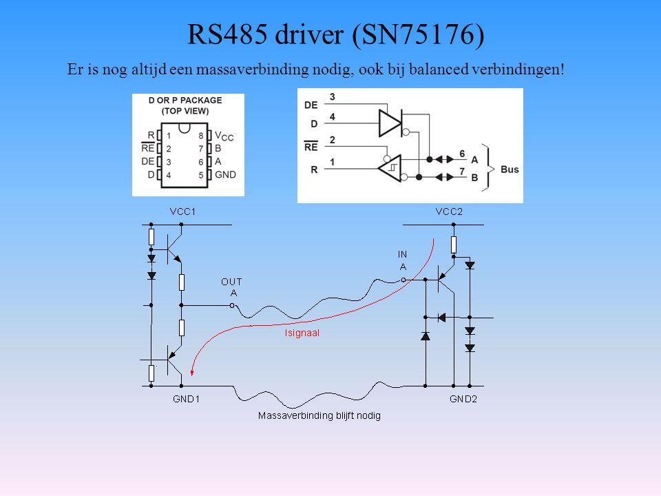 RS485 driver (SN75176) Er is nog altijd een massaverbinding nodig, ook bij balanced verbindingen!