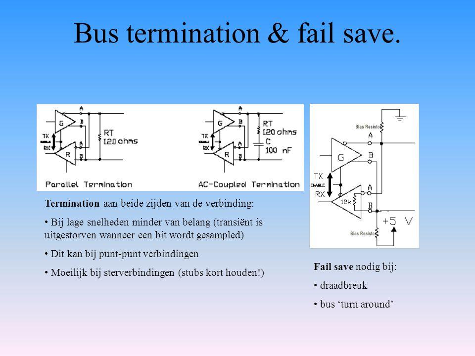 Bus termination & fail save. Termination aan beide zijden van de verbinding: Bij lage snelheden minder van belang (transiënt is uitgestorven wanneer e