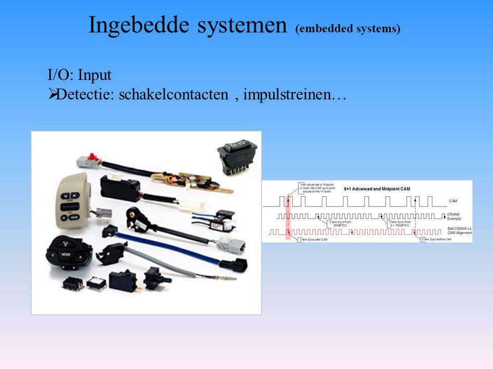 I/O: Input  Detectie: schakelcontacten, impulstreinen… Ingebedde systemen (embedded systems)