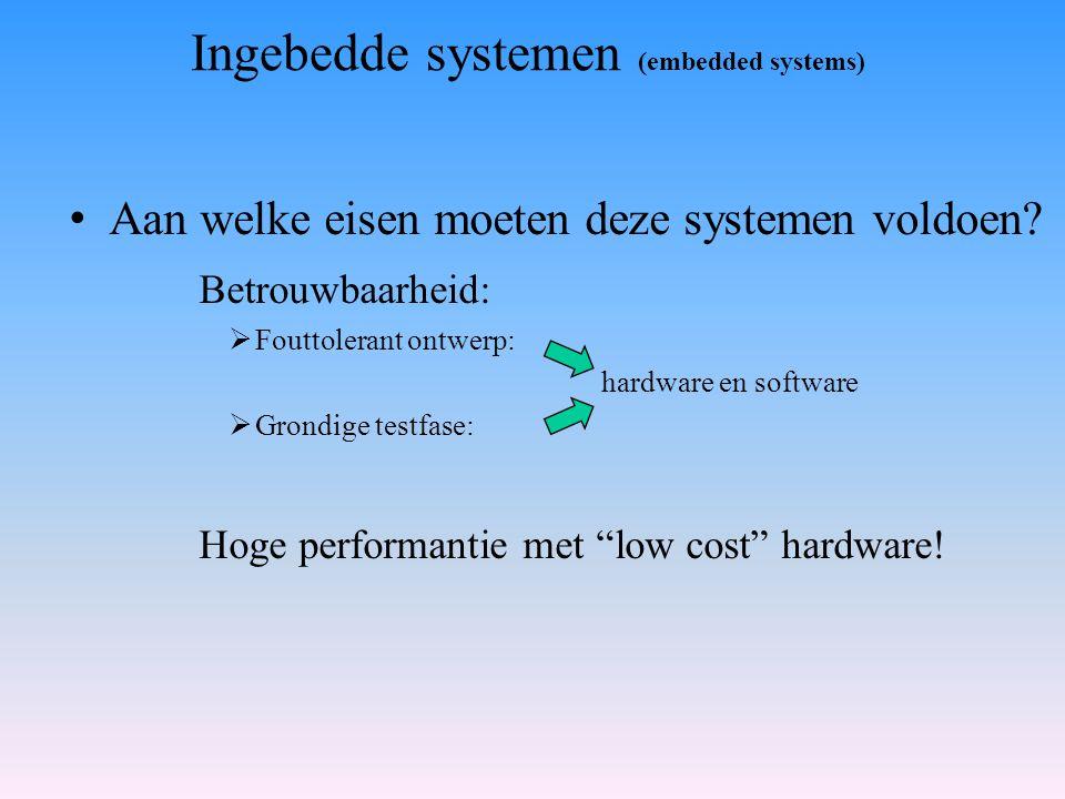 Aan welke eisen moeten deze systemen voldoen? Betrouwbaarheid:  Fouttolerant ontwerp: hardware en software  Grondige testfase: Hoge performantie met