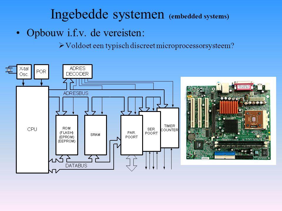 Opbouw i.f.v. de vereisten:  Voldoet een typisch discreet microprocessorsysteem? Ingebedde systemen (embedded systems)