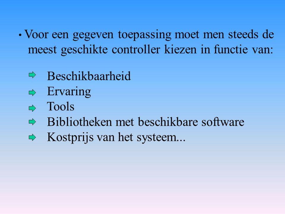 Voor een gegeven toepassing moet men steeds de meest geschikte controller kiezen in functie van: Beschikbaarheid Ervaring Tools Bibliotheken met besch