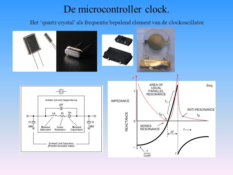 De microcontroller clock. Het 'quartz crystal' als frequentie bepalend element van de clockoscillator. freq