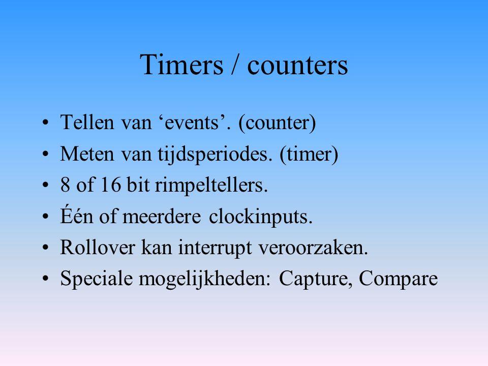Timers / counters Tellen van 'events'. (counter) Meten van tijdsperiodes. (timer) 8 of 16 bit rimpeltellers. Één of meerdere clockinputs. Rollover kan
