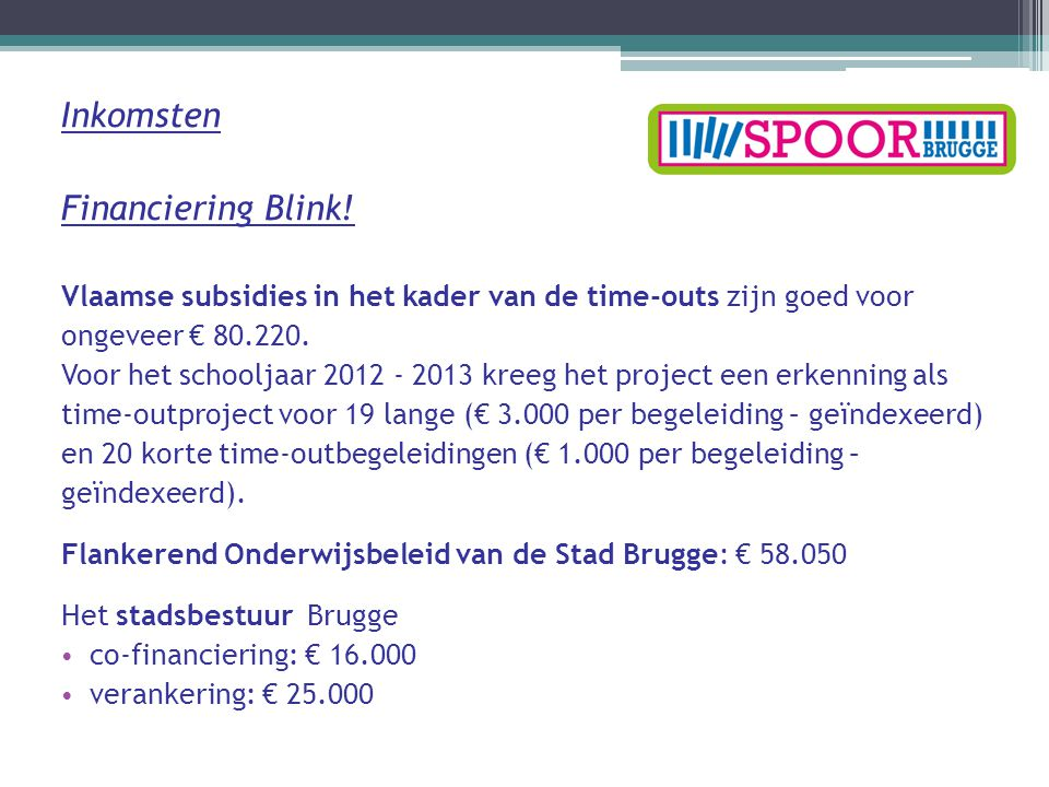 Inkomsten Financiering Blink.