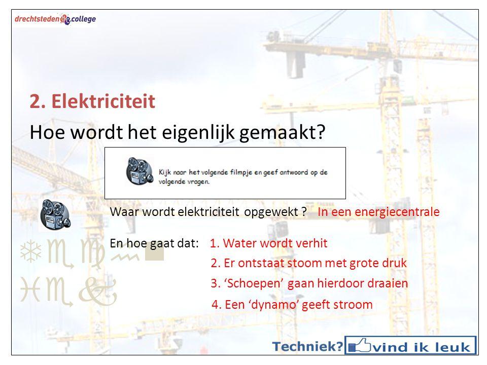 Techn iek 2. Elektriciteit Hoe wordt het eigenlijk gemaakt? Waar wordt elektriciteit opgewekt ?In een energiecentrale En hoe gaat dat:1. Water wordt v