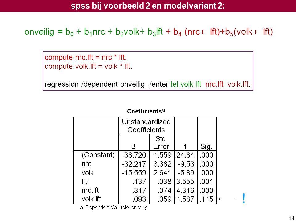 14 compute nrc.lft = nrc * lft. compute volk.lft = volk * lft. regression /dependent onveilig /enter tel volk lft nrc.lft volk.lft. onveilig = b 0 + b