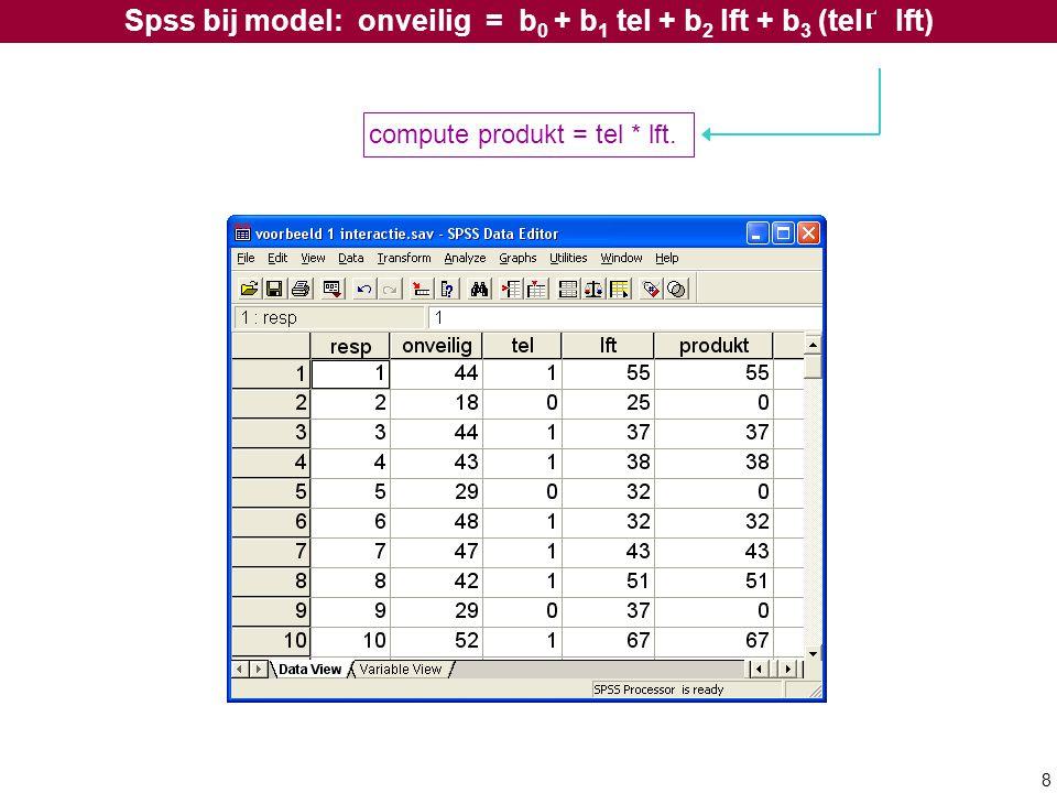 8 Spss bij model: onveilig = b 0 + b 1 tel + b 2 lft + b 3 (tel lft) compute produkt = tel * lft.