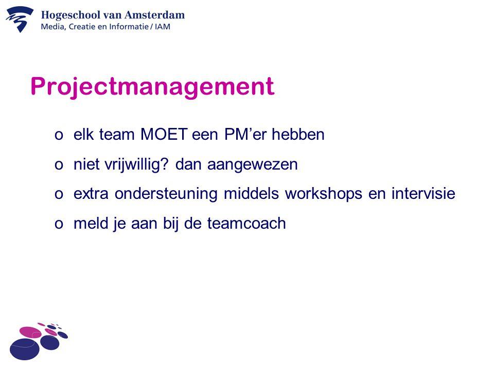 Projectmanagement o elk team MOET een PM'er hebben o niet vrijwillig.