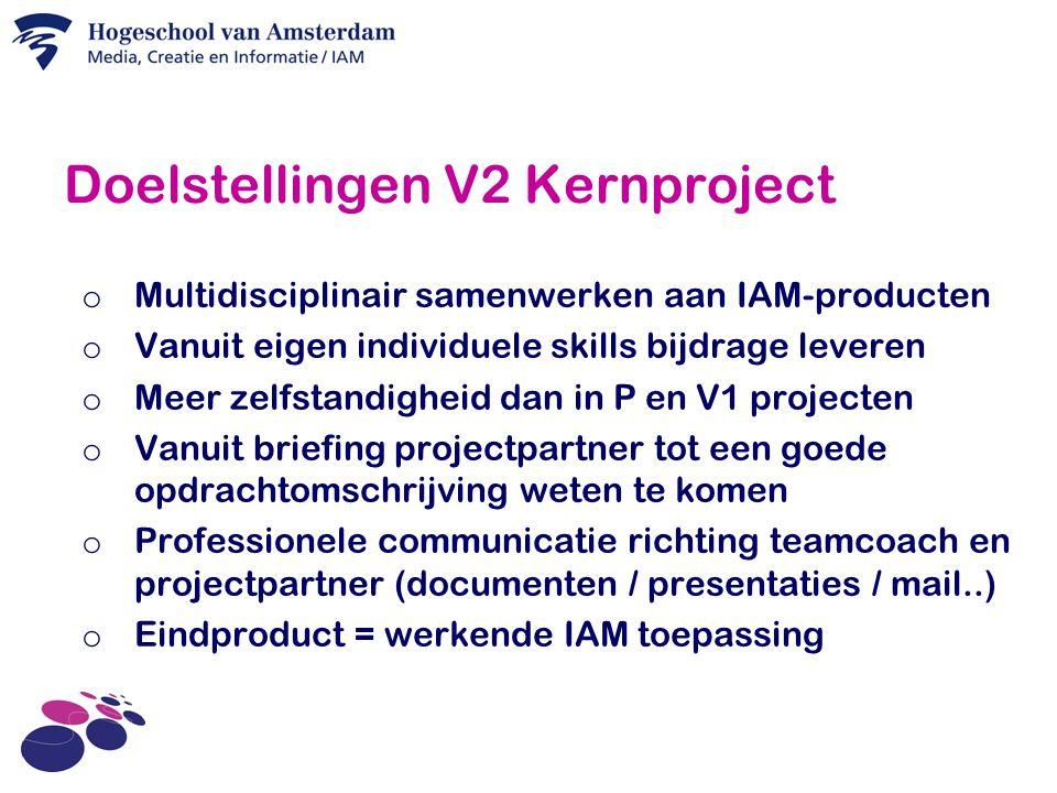 Doelstellingen V2 Kernproject o Multidisciplinair samenwerken aan IAM-producten o Vanuit eigen individuele skills bijdrage leveren o Meer zelfstandigheid dan in P en V1 projecten o Vanuit briefing projectpartner tot een goede opdrachtomschrijving weten te komen o Professionele communicatie richting teamcoach en projectpartner (documenten / presentaties / mail..) o Eindproduct = werkende IAM toepassing