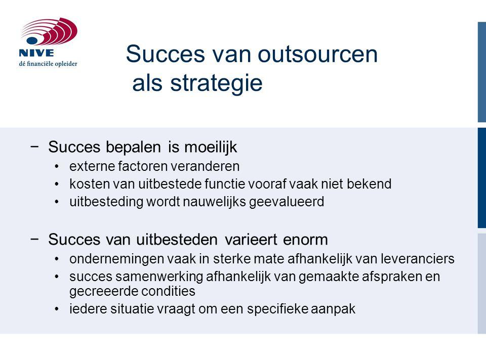 Succes van outsourcen als strategie −Succes bepalen is moeilijk externe factoren veranderen kosten van uitbestede functie vooraf vaak niet bekend uitb