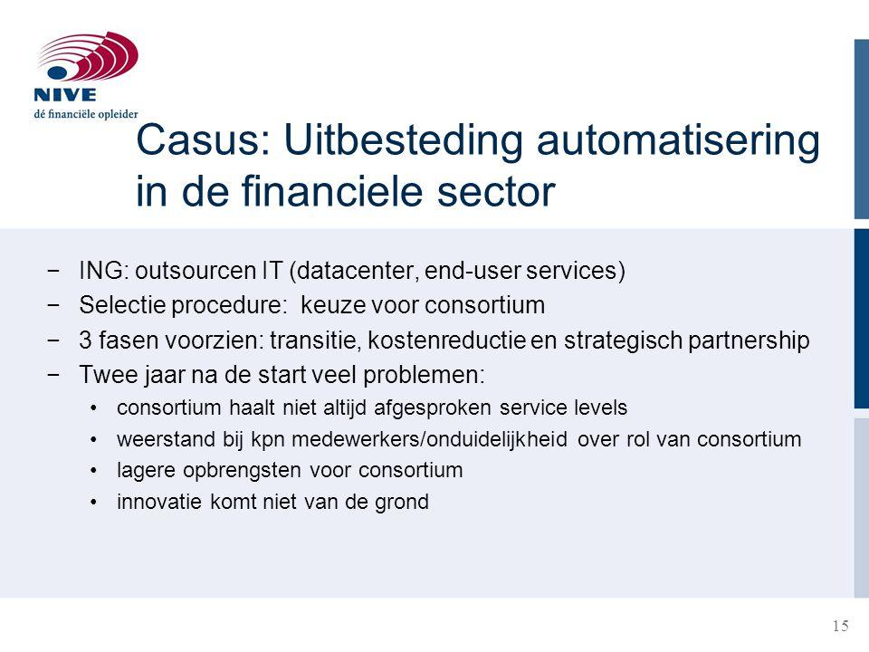 Casus: Uitbesteding automatisering in de financiele sector −ING: outsourcen IT (datacenter, end-user services) −Selectie procedure: keuze voor consort