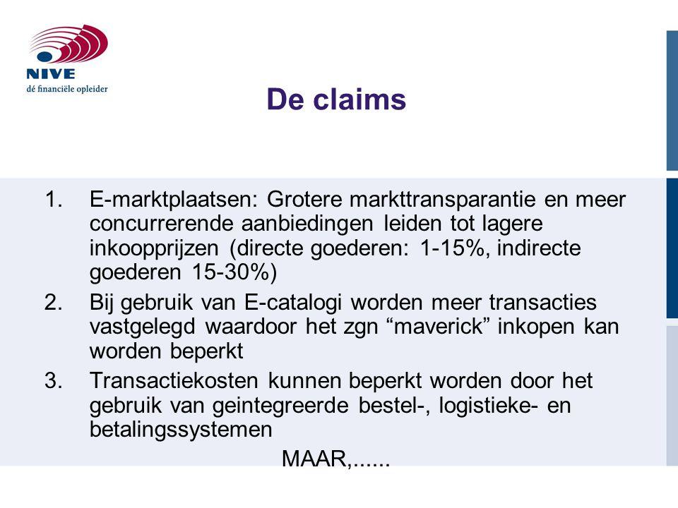 1.E-marktplaatsen: Grotere markttransparantie en meer concurrerende aanbiedingen leiden tot lagere inkoopprijzen (directe goederen: 1-15%, indirecte g