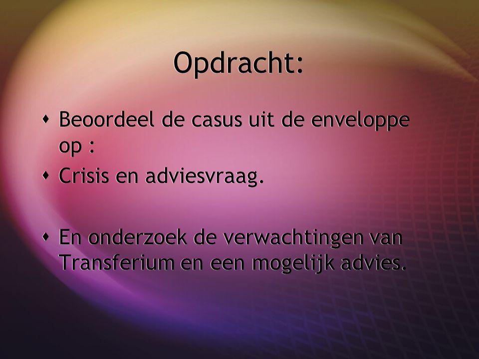 Opdracht:  Beoordeel de casus uit de enveloppe op :  Crisis en adviesvraag.