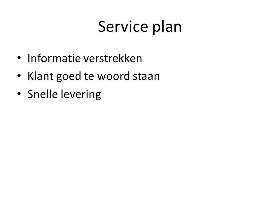 Service plan Informatie verstrekken Klant goed te woord staan Snelle levering