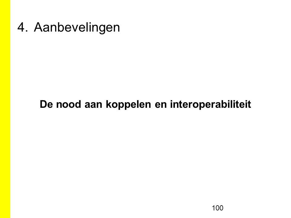 4.Aanbevelingen De nood aan koppelen en interoperabiliteit 100
