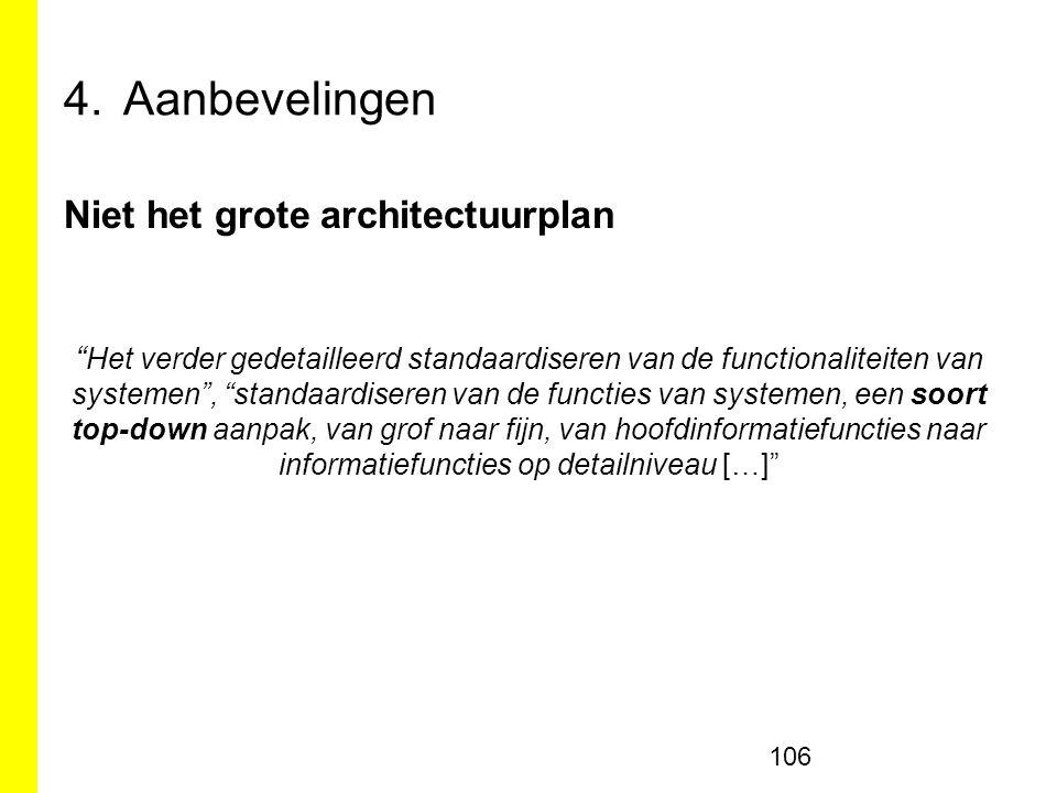 4.Aanbevelingen Niet het grote architectuurplan Het verder gedetailleerd standaardiseren van de functionaliteiten van systemen , standaardiseren van de functies van systemen, een soort top-down aanpak, van grof naar fijn, van hoofdinformatiefuncties naar informatiefuncties op detailniveau […] 106