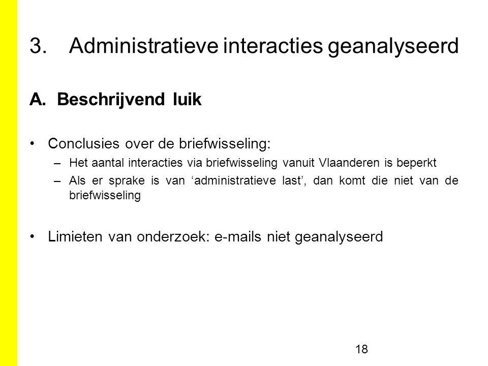 3.Administratieve interacties geanalyseerd A.Beschrijvend luik Conclusies over de briefwisseling: –Het aantal interacties via briefwisseling vanuit Vlaanderen is beperkt –Als er sprake is van 'administratieve last', dan komt die niet van de briefwisseling Limieten van onderzoek: e-mails niet geanalyseerd 18