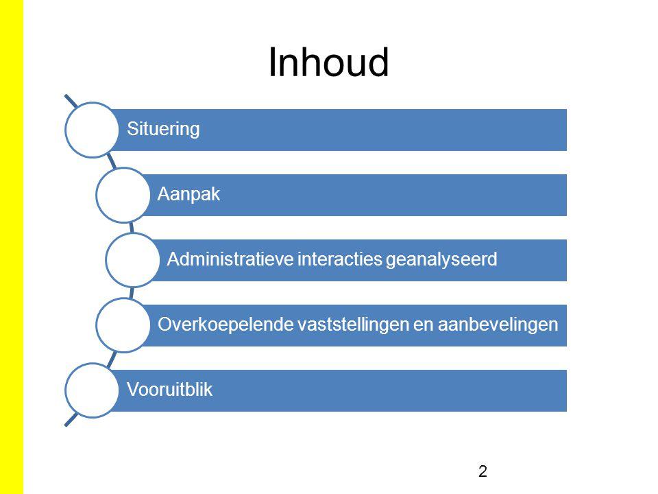 Inhoud 2 Situering Aanpak Administratieve interacties geanalyseerd Overkoepelende vaststellingen en aanbevelingen Vooruitblik