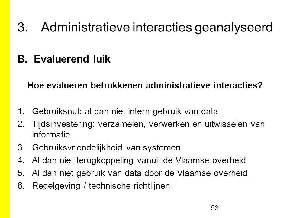 3.Administratieve interacties geanalyseerd B.Evaluerend luik Hoe evalueren betrokkenen administratieve interacties.