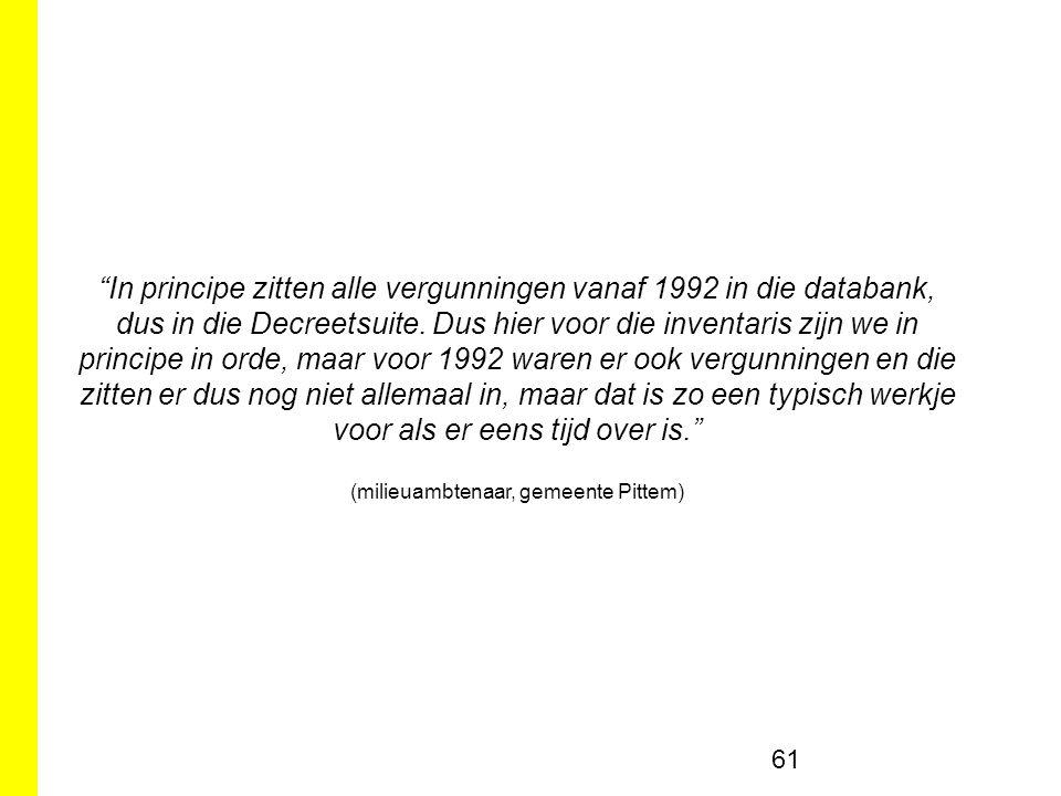 61 In principe zitten alle vergunningen vanaf 1992 in die databank, dus in die Decreetsuite.